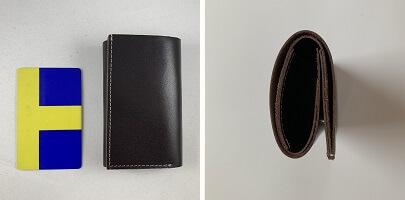 本革はぎれミニ財布のサイズ